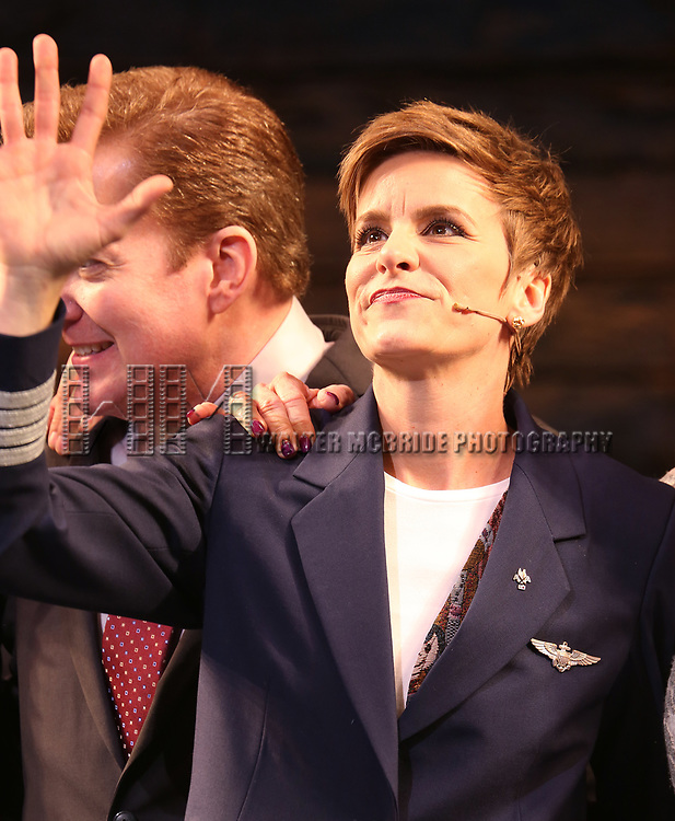 "Jenn Colella during the ""Come From Away"" Broadway Opening Night Curtain Call at the Gerald Schoenfeld Theatre on March 12, 2017 in New York City."