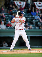 Infielder David Chester (44) of the Greenville Drive in a game against the Charleston RiverDogs on Opening Day, Friday, April 5, 2013, at Fluor Field at the West End in Greenville, South Carolina. (Tom Priddy/Four Seam Images)