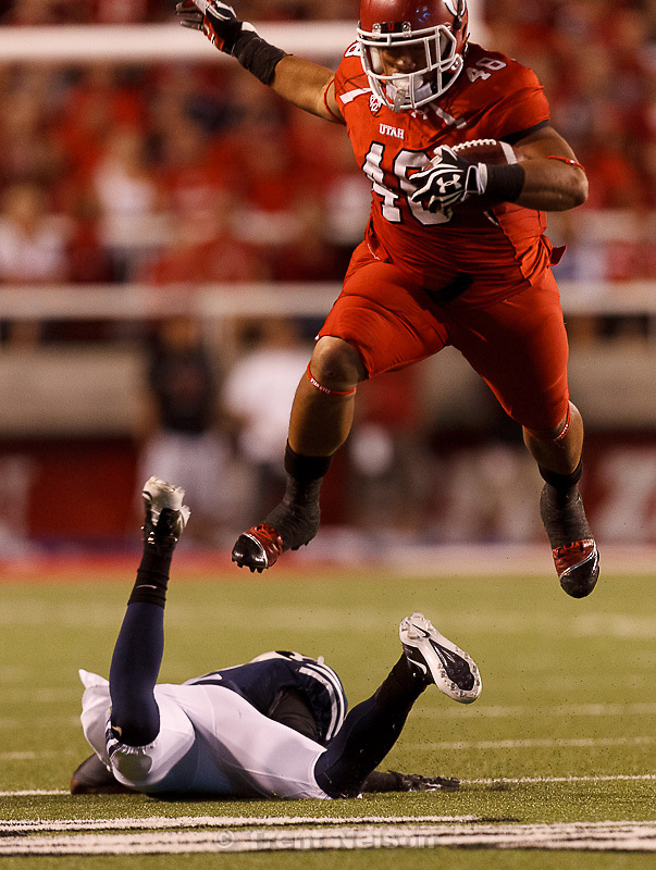 Trent Nelson  |  The Salt Lake Tribune.Utah fullback Max Moala (48) leaps over Brigham Young defensive back Jordan Johnson (6) as Utah hosts BYU college football in Salt Lake City, Utah, Saturday, September 15, 2012. painted fans