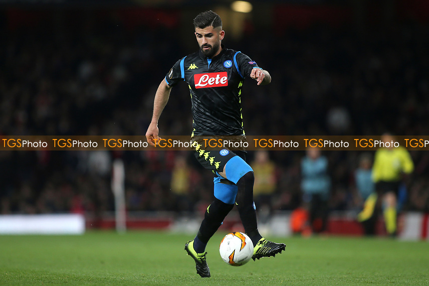 Elseid Hysaj of Napoli in action during Arsenal vs Napoli, UEFA Europa League Football at the Emirates Stadium on 11th April 2019