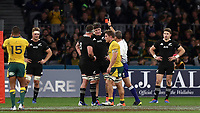 Scott Barrett of the All Blacks is sent off by referee, Jerome Garces during the Rugby Championship match between Australia and New Zealand at Optus Stadium in Perth, Australia on August 10, 2019 . Photo: Gary Day / Frozen In Motion