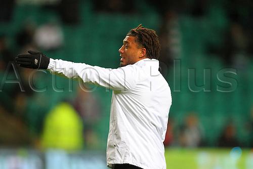 02.03.2016. Celtic Park, Glasgow, Scotland. Scottish Premier League. Celtic versus Dundee. Colin Kazim-Richards warms up pregame