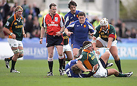 South African hooker henri Bantjes is tackled by French replacement Raphael Olive during the Division A U19 World Championship clash at Ravenhill.