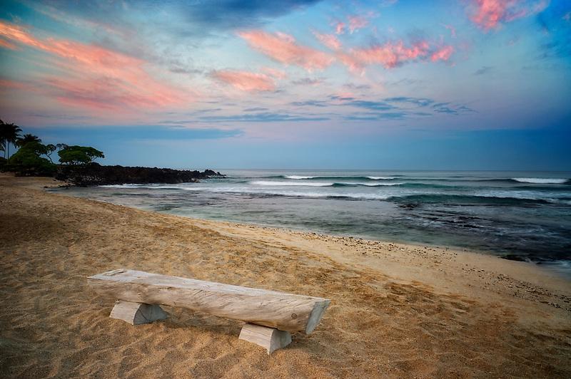 Bench and ocean with sunrise. The Kohala Coast. The Big Island, Hawaii