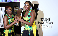 24.02.2018 Jamaica's Vangelee Williams and Jhaniele Fowler-Reid celebrate during the Silver Ferns v Jamaica Taini Jamison Trophy netball match at the North Shore Events Centre in Auckland. Mandatory Photo Credit ©Michael Bradley.