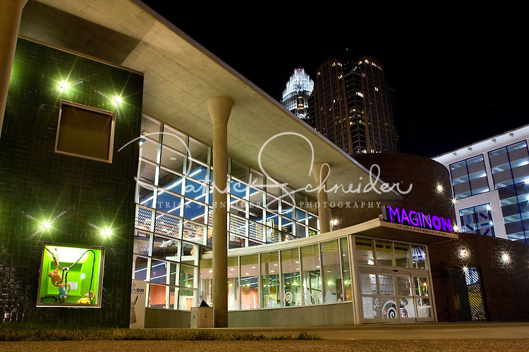 Exterior photo of Charlotte ImaginOn Childrens Library. Also called the Joe & Joan Martin Center, ImaginOn opened in October 2005.