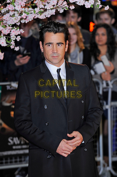 Colin Farrell <br /> attending the 57th BFI London Film Festival Closing Night Gala World Premiere of 'Saving Mr Banks', Odeon Cinema, Leicester Square, London, England. <br /> 20th October 2013<br /> half length coat jacket black suit tie white shirt <br /> CAP/MAR<br /> &copy; Martin Harris/Capital Pictures
