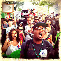 Demonstrators shout slogans against the police when She takes part in a march protesting against the Stop-and-Frisk polices in New York  Photo by Eduardo Munoz Alvarez / VIEW..PICTURE TAKEN WITH A MOBILE DEVICE.