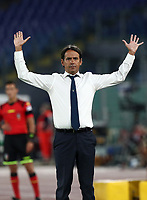 Football, Serie A: S.S. Lazio - Cagliari, Olympic stadium, Rome, July 23, 2020. <br /> Lazio's coach Simone Inzaghi gestures during the Italian Serie A football match between Lazio and Cagliari at Rome's Olympic stadium, Rome, on July 23, 2020. <br /> UPDATE IMAGES PRESS/Isabella Bonotto