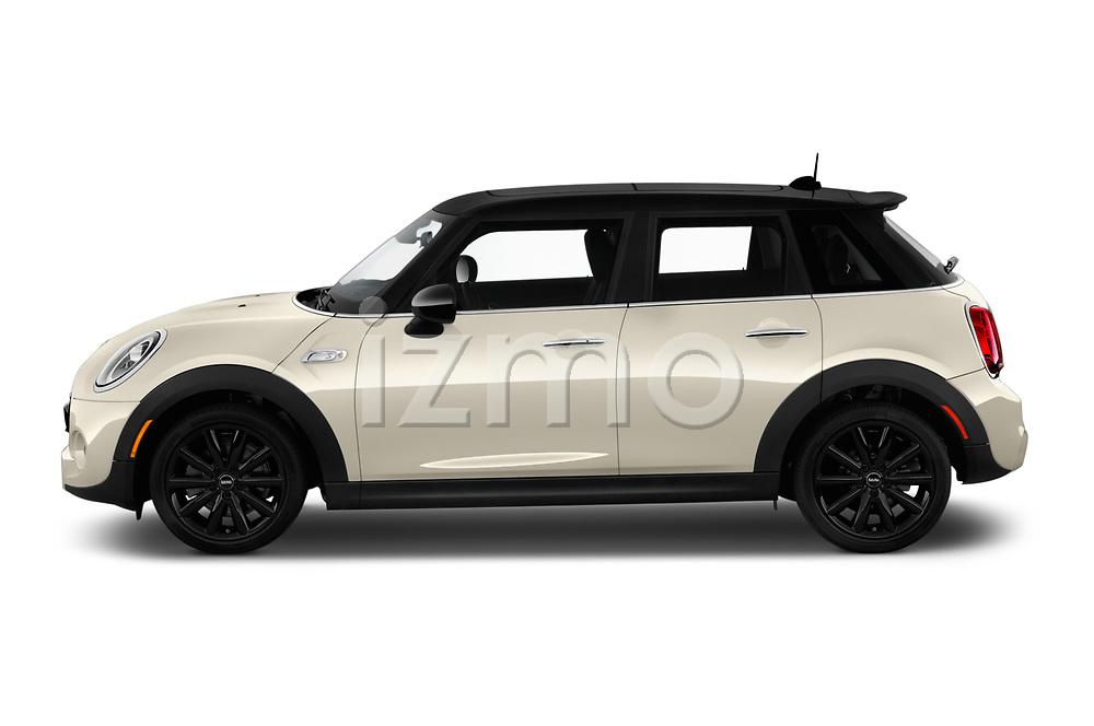 Car driver side profile view of a 2019 Mini Hardtop 4 Door Cooper S Signature 5 Door Hatchback