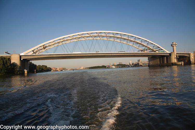 Van Brienenoord Bridge an arch vehicle bridge crossing river Nieuwe Maas, Rotterdam, Netherlands