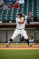 Birmingham Barons third baseman Trey Michalczewski (27) at bat during a game against the Pensacola Blue Wahoos on May 8, 2018 at Regions FIeld in Birmingham, Alabama.  Birmingham defeated Pensacola 5-2.  (Mike Janes/Four Seam Images)