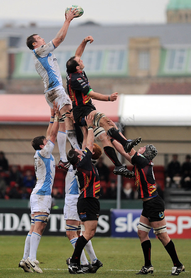 Glasgow Warriors Alastair Kellock (capt) wins the line out..Rugby - Heineken Cup  6 -  Newport Gwent Dragon_v_Glasgow Warriors - Sun 23 Jan 2011 - Rodney Parade - Newport ...© IJC Sports Photo - info@ijcphotography.co.uk