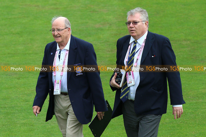 Essex scorer Tony Choat (L) and his Glamorgan counterpart Andrew Hignell leave the field after the toss during Glamorgan vs Essex Eagles, Nat West T20 Blast Cricket at the SSE SWALEC Stadium on 1st June 2016