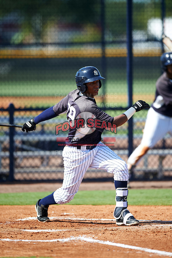 GCL Yankees East third baseman Jose Polonia (79) at bat during a game against the GCL Yankees West on August 3, 2016 at the Yankees Complex in Tampa, Florida.  GCL Yankees East defeated GCL Yankees West 12-2.  (Mike Janes/Four Seam Images)