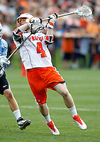 Virginia Cavaliers Matt White (4) takes a shot during the game against the Johns Hopkins in Charlottesville, VA. Johns Hopkins defeated Virginia 11-10 in overtime. Photo/Andrew Shurtleff