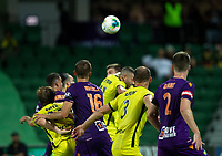 7th February 2020; HBF Park, Perth, Western Australia, Australia; A League Football, Perth Glory versus Wellington Phoenix; Tomislav Mrcela of the Perth Glory wins the header from a cross in the 43rd minute to give Perth a 1-0 lead