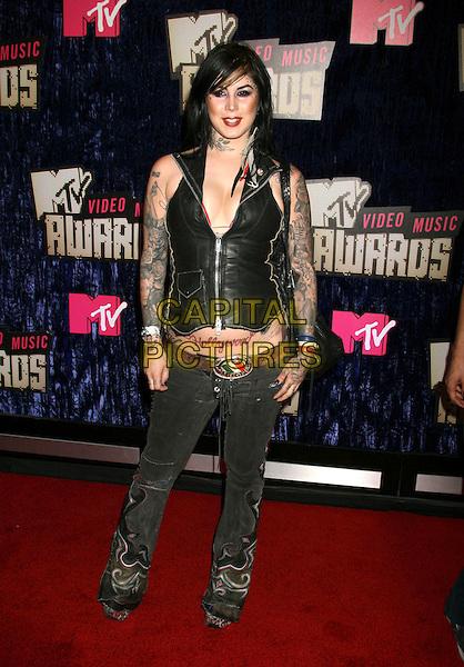 KAT VON D.2007 MTV Video Music Awards .held at the Palms Resort & Casino, Las Vegas, .Nevada, USA, 09 September 2007..full length black waistcoat tattoos Hollywood  tattoo .CAP/ADM/RE.©Russ Elliot/AdMedia/Capital Pictures.