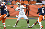 Boston College Eagles quarterback Chase Rettig (11) throws down field during a game against the Syracuse Orange at the Carrier Dome on November 30, 2013 in Syracuse, New York.  Syracuse defeated Boston College 34-31.  (Copyright Mike Janes Photography)