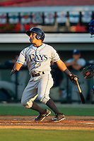 David Garcia (6) of the Princeton Rays follows through on his swing against the Burlington Royals at Burlington Athletic Park on July 11, 2014 in Burlington, North Carolina.  The Rays defeated the Royals 5-3.  (Brian Westerholt/Four Seam Images)