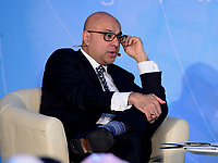 "Washington, DC - April 21, 2018: MSNBC/NBC News correspondent Ali Velshi moderates a panel discussion on ""Building Human Capital"" at the World Bank Group in Washington, DC April 21, 2018, as part of the IMF/World bank Spring Meetings.  (Photo by Don Baxter/Media Images International)"
