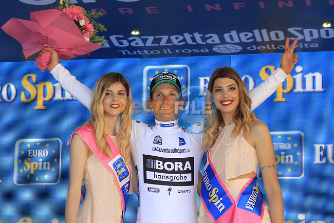 Lukas Postlberger (AUT) Bora-Hansgrohe retains the young riders white jersey at the end of Stage 2 of the 100th edition of the Giro d'Italia 2017, running 221km from Olbia to Tortoli, Sardinia, Italy. 6th May 2017.<br /> Picture: Eoin Clarke   Cyclefile<br /> <br /> All photos usage must carry mandatory copyright credit (&copy; Cyclefile   Eoin Clarke)