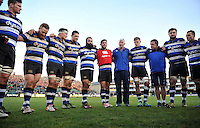 Bath Director of Rugby Todd Blackadder speaks to his team in a post-match huddle. Aviva Premiership match, between Bath Rugby and Harlequins on February 18, 2017 at the Recreation Ground in Bath, England. Photo by: Patrick Khachfe / Onside Images