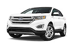 Stock pictures of low aggressive front three quarter view of a 2015 Ford Edge SEL 5 Door Suv Low Aggressive