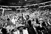 Boston, Massachusetts.USA.July 29, 2004..During the final night of the Democratic National Convenvention Senator John Kerry, the Presidentual nomaniee for democtratic ticket, addresses the crowd.