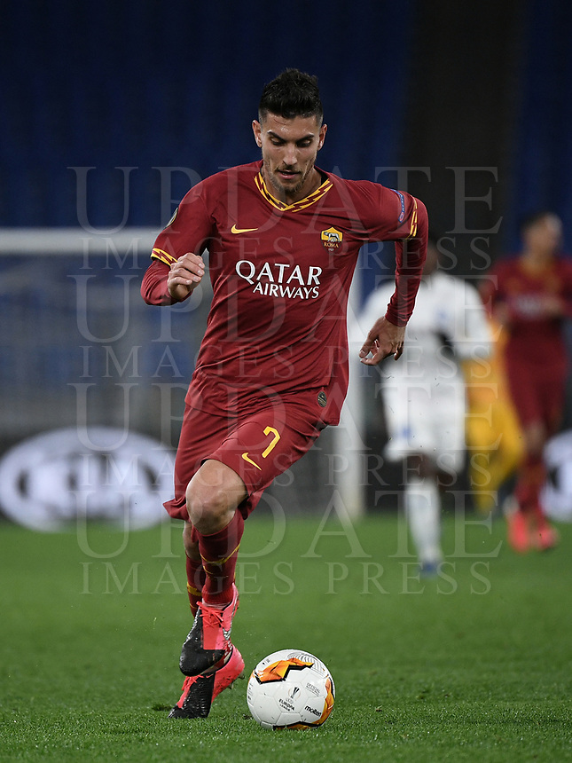 Football Soccer: UEFA Europa League round of 32 first leg AS Roma vs KAA Gent, Olympic stadium, Rome, 20 February, 2020.<br /> Roma's Lorenzo Pellegrini in action during the Europa League football match between Roma and Gent at the Olympic stadium in Rome on 20 February, 2020.<br /> UPDATE IMAGES PRESS/Isabella Bonotto