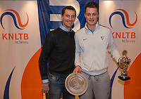 Hilversum, Netherlands, December 4, 2016, Winter Youth Circuit Masters, Overall winner boys 16 years Deney Wassermann with Fedcup captain Paul Haarhuis. <br /> Photo: Tennisimages/Henk Koster
