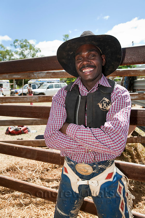 Portrait of an indigenous cowboy.  Chillagoe, Queensland, Australia