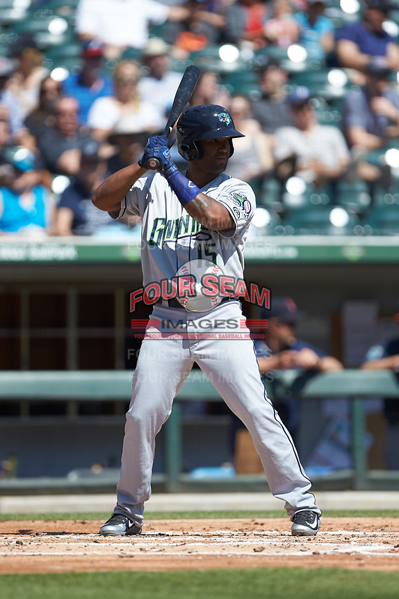 Danny Santana (15) of the Gwinnett Stripers at bat against the Charlotte Knights at BB&T BallPark on May 2, 2018 in Charlotte, North Carolina.  The Knights defeated the Stripers 6-5.  (Brian Westerholt/Four Seam Images)