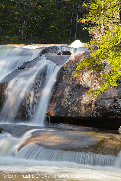 """Diana's Baths in Bartlett, New Hampshire USA during the spring months. Diana's Baths is a series of small cascades located on Lucy Brook. Remnants of the old 1800s """"Lucy's Mill"""" can be found in this area. The Lucy family owned this sawmill, and they abandoned it in the 1940s."""
