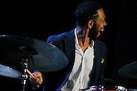 Drummer Jerome Jennings plays with the Christian McBride Trio in Dizzy's Den at the 2016 Monterey Jazz Festival on Sept. 17, 2016.
