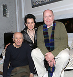 Playwright Terrence McNally, T.R. Knight and director Jack O'Brien during a backstage champagne celebration to welcome original cast member Nathan Lane and new cast member T.R. Knight to the production of 'It's Only A Play' at the Bernard B. Jacobs Theatre on March 31, 2015 in New York City.