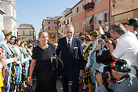 Duke Max von Bayern and wife duchess Elizabeth von Bayern at the honorary evening for Pope Benedict XVI. for his 85th Birthday in the courtyard of the papal summer residence at Castel Gandolfo in Italy, with costumes clubs from all over Bavaria. Castel Gandolfo, Italy, 03.08.2012...Credit: Nickels/face to face / Mediapunchinc  - ***online only for weekly magazines**** /NortePhoto.com<br />