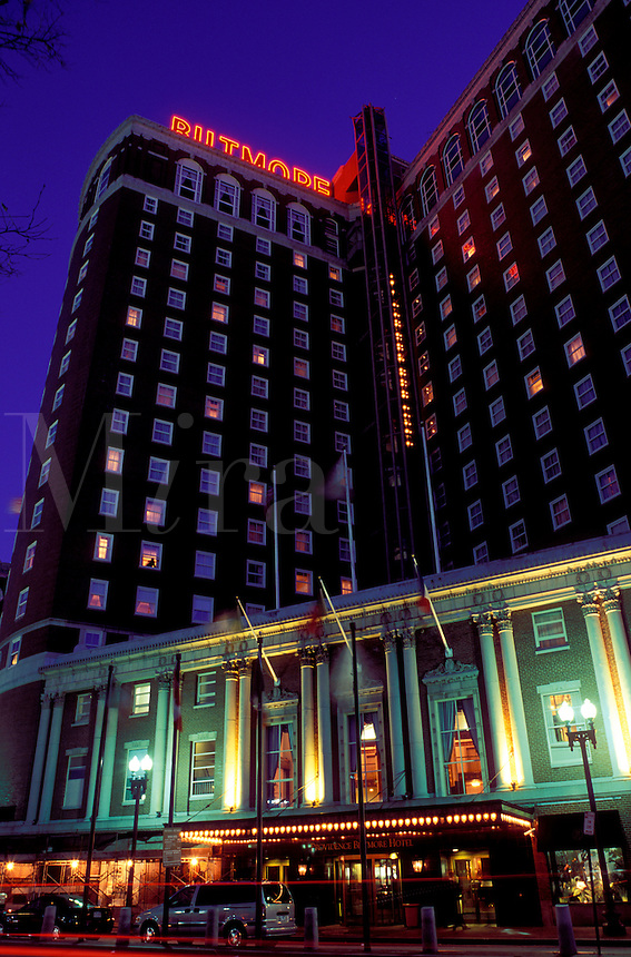 hotel, lodging, Providence, Rhode Island, RI, Providence Biltmore Hotel a classic grand hotel illuminated at night in downtown Providence.