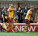 Louis Moult celebrates his opener for Motherwell
