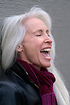Beautiful white haired woman laughing