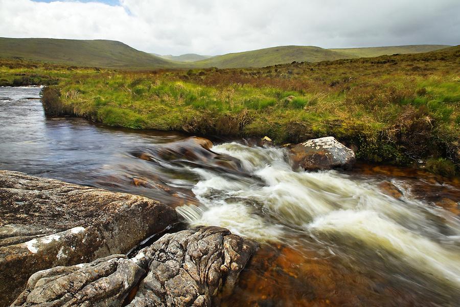 Bullalla River running along Glenveagh National Park, Glendowanbeg, Glendowan, County Donegal, Republic of Ireland