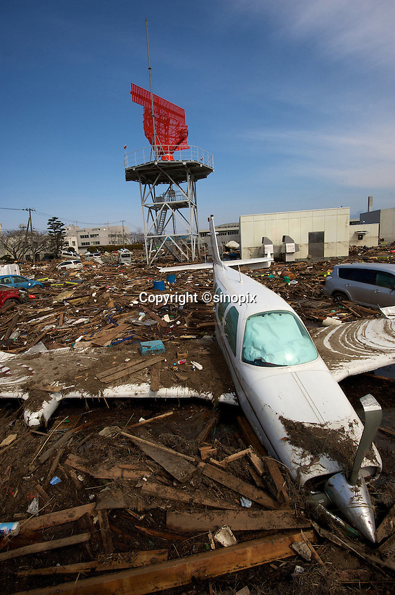 Sendai airport that was devastated by the Tsunami that followed the March 11th earthquake, Japan. The earthquake, tsunami and nuclear fallout has meant that the March 11th quake was the most expensive natural disaster known to man..13 Mar 2011.