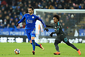 18th March 2018, King Power Stadium, Leicester, England; FA Cup football, quarter final, Leicester City versus Chelsea; Vicente Iborra of Leicester City under pressure from Willian of Chelsea
