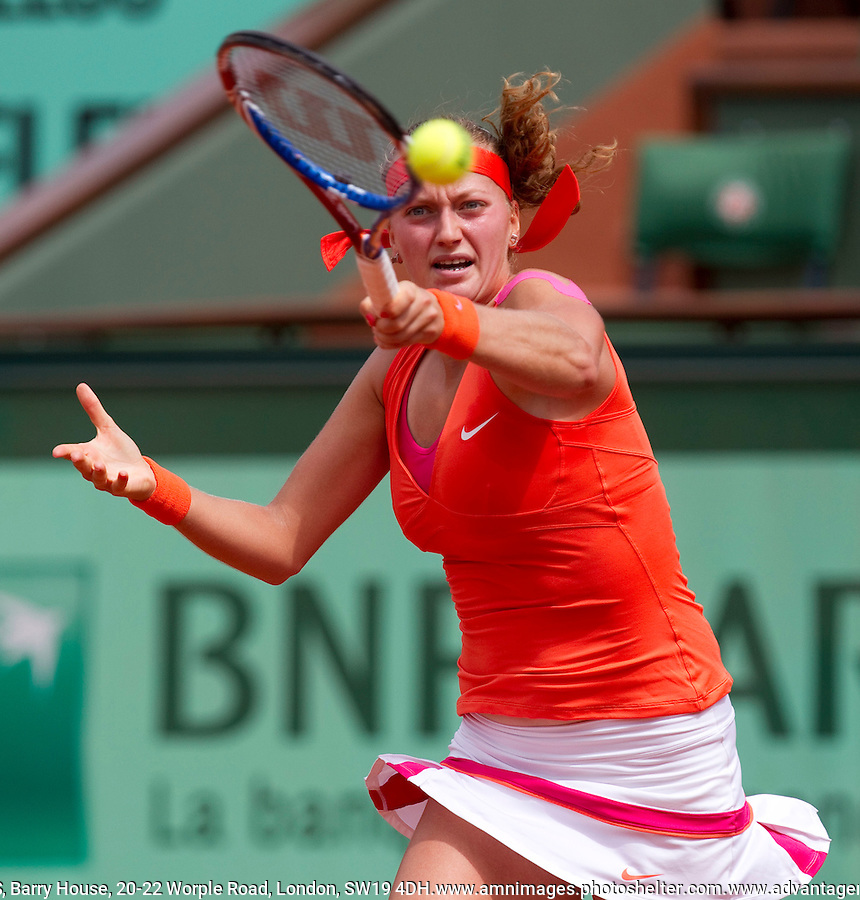 Petra KVITOVA (CZE) (9) against Na LI (CHN) (6) in the 4th Round of the women's singles. Na Li beat Petra Kvitova 6-2 1-6 6-3. .Tennis - Grand Slam - French Open - Roland Garros - Paris - Day 9 -  Mon May 30th 2011..© AMN Images, Barry House, 20-22 Worple Road, London, SW19 4DH, UK..+44 208 947 0100.www.amnimages.photoshelter.com.www.advantagemedianetwork.com.
