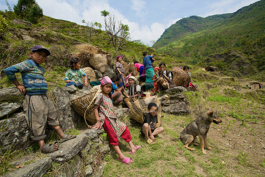 The Rai are tireless porters. Their large baskets of braided bamboo accumulate loads of over 200 pounds.