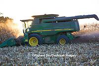 63801-06618 John Deere combine harvesting corn, Marion Co., IL