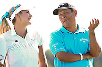 Lexi Thomspon (left) and Notah Begay III (right) share a laugh after the 5th Annual Notah Begay III Foundation Challenge at Atunyote Golf Club in Vernon, New York on August 29, 2012