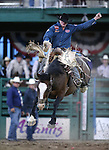 Sterling Crawley rides in the saddle bronc competition at the Reno Rodeo in Reno, Nev. on Friday, June 19, 2015.<br /> Photo by Cathleen Allison/Nevada Photo Source