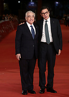 Il regista statunitense Martin Scorsese (s) posa con il direttore della Festa del Cinema Antonio Monda (d) sul red carpet per la presentazione del suo film 'Irishman' alla 14^ Festa del Cinema di Roma all'Aufditorium Parco della Musica di Roma, 21 ottobre 2019.<br /> US director Martin Scorsese (l) poses with Rome Film Fest director Antonio Monda (r) on the red carpet to present his movie 'Irishman' during the 14^ Rome Film Fest at Rome's Auditorium, on 21 October 2019.<br /> UPDATE IMAGES PRESS/Isabella Bonotto
