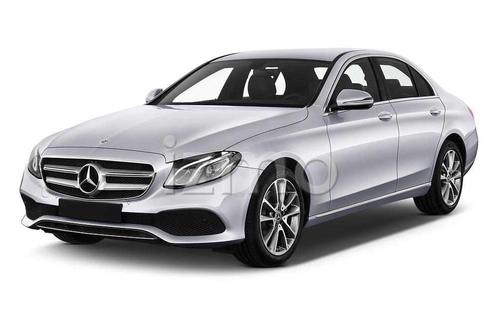 2018 Mercedes Benz E Class Business Solution 4 Door Sedan angular front stock photos of front three quarter view